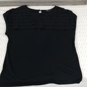 Mango MNG solid black t shirt with layers - Large